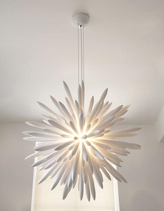 Home lighting with a modern white chandelier