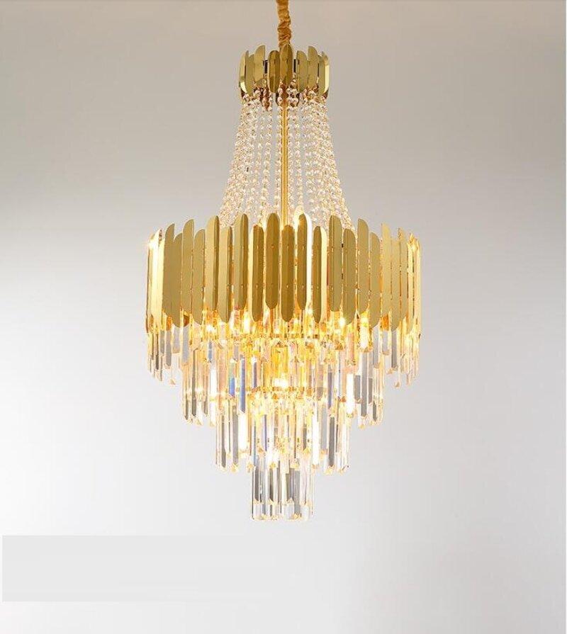 Elegant chandeliers in gold