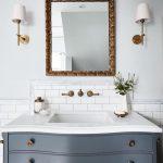 framed mirror for blue bathroom