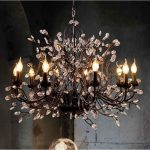 Iron chandelier with crystals