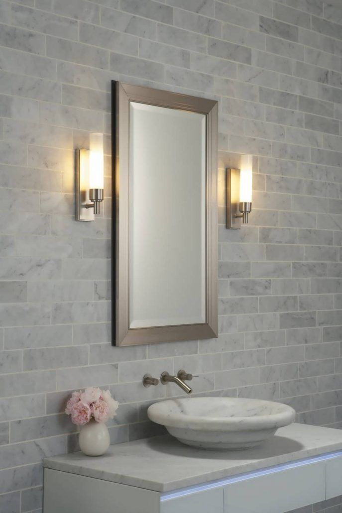 Mirrors and bathroom wall lamps for small bathrooms