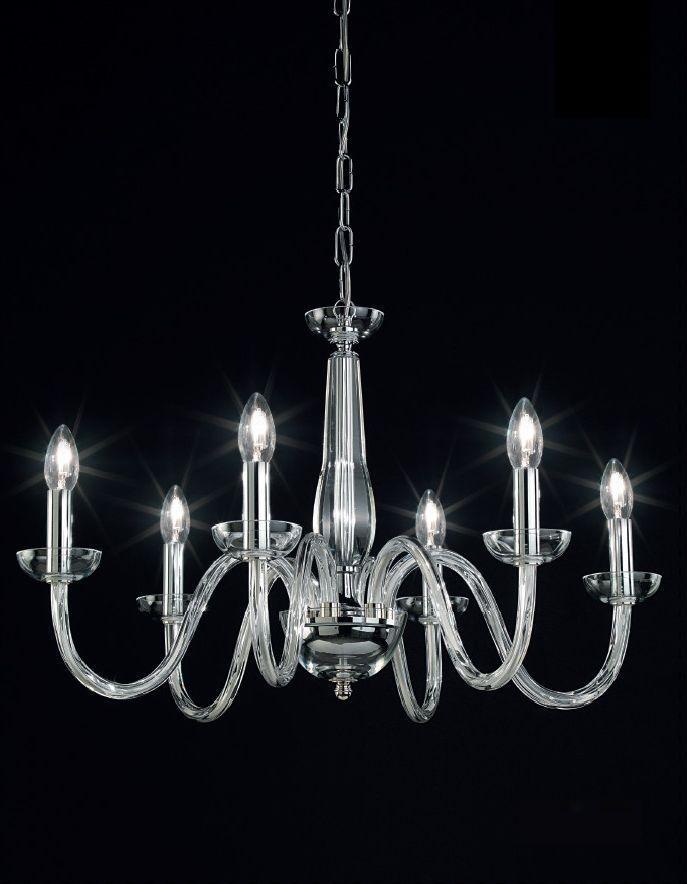 Modern chandelier in silver