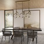 Modern chandeliers in the dining room