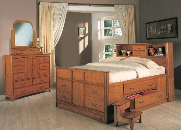 Oak bed bed queen with drawer plans