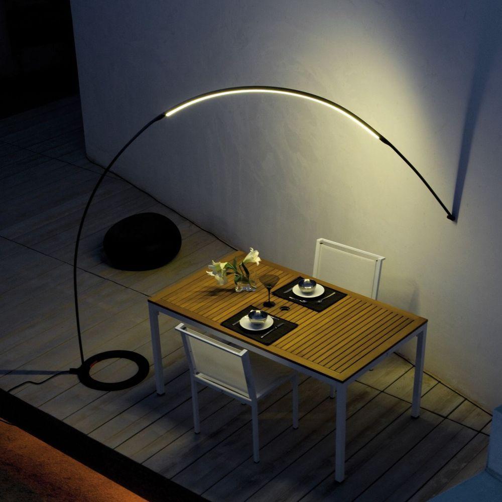 patio with an arc lamp